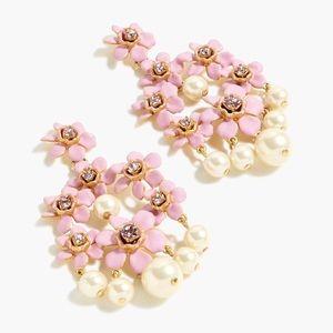 JCREW Pearl & Floral Chandelier Earrings NWT Lilac